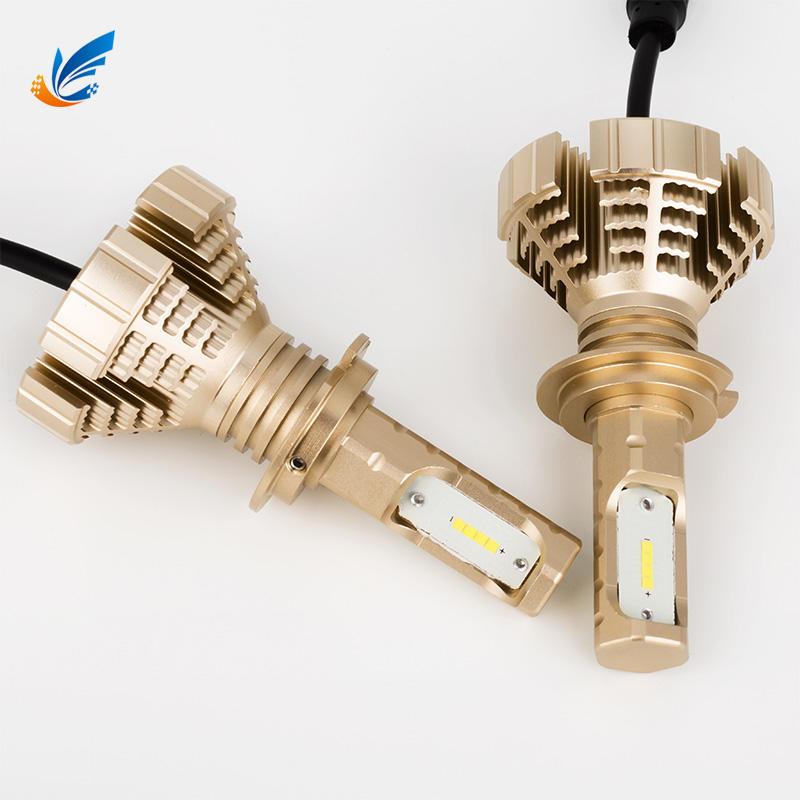Unique high brightness no fan car led lights 8G golden color H7